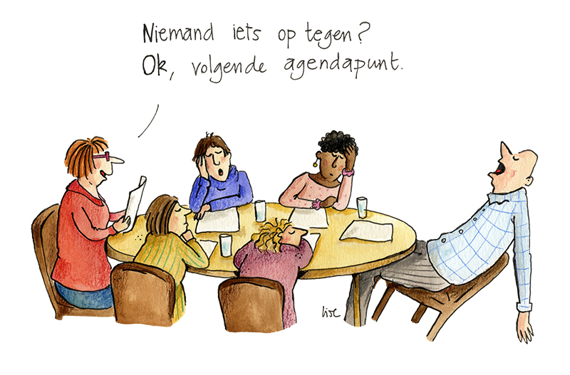 cartoon vergaderen vergadertips