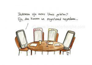 cartoon smartphone vergadering