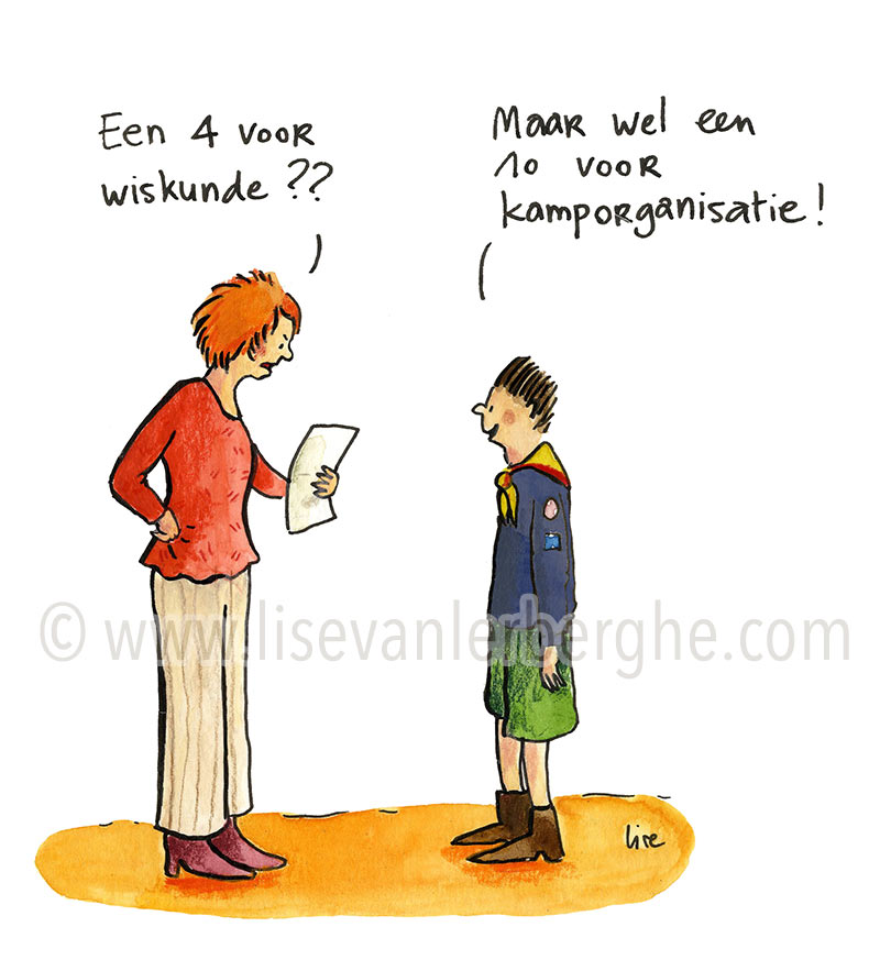 kamp organiseren cartoon