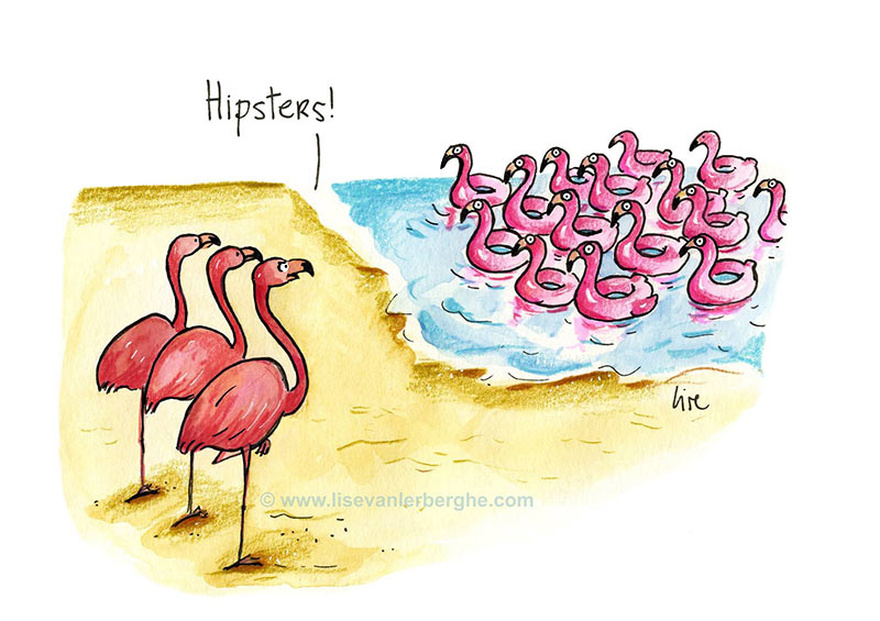 cartoon flamingos