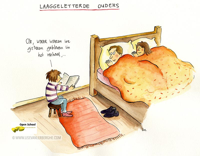 cartoon laaggeletterdheid