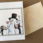 sneeuwman pinguïns wenskaart