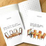 notitieschriftje met cartoon vergaderingen