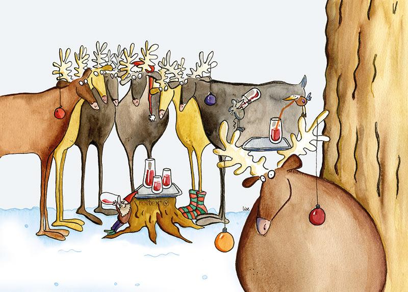 illustratie herten sneeuw