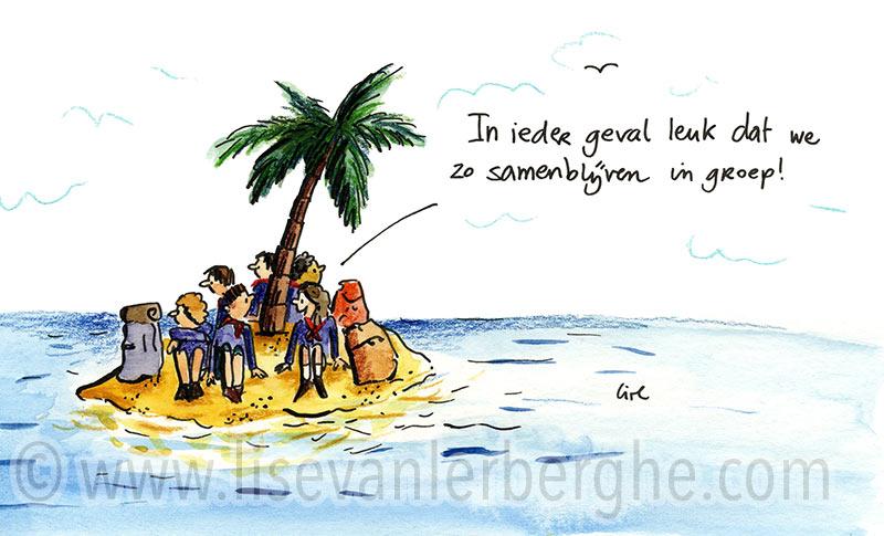 buitenlands kamp cartoon