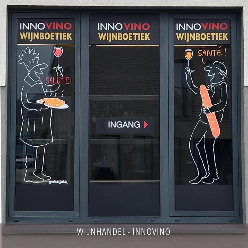tekening raam wijn
